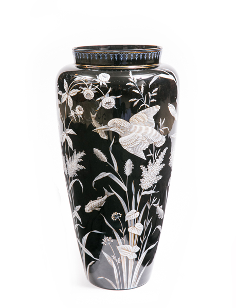 antique enamel vase